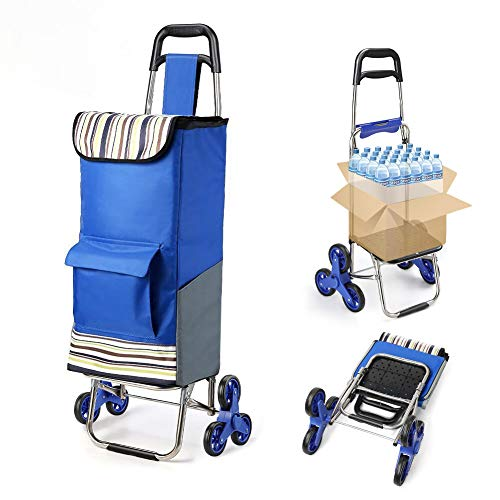 Folding Shopping Cart Extended Handle Stair Climbing Cart with Quiet Rubber Tri-Wheels Grocery Foldable Utility Cart with Upgraded Bottom Platform to Prevent Sagging (Best Climbing Wheels 2019)
