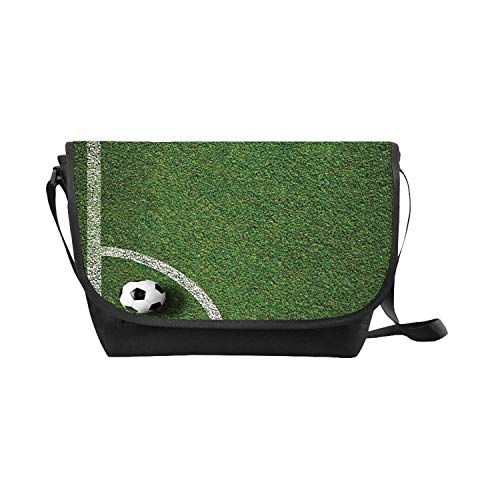 Sports Decor New Messenger Bag,Soccer Ball in Corner Kick Position Football Field top View Grass Lawn Terrain for Travel (Soccer Position By Numbers In The Field)