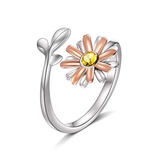 (AOBOCO 925 Sterling Silver Daisy Ring Made with Swarovski Crystals Wrap Open Adjustable Flower Ring Fine Jewelry Gift for Women Girls)