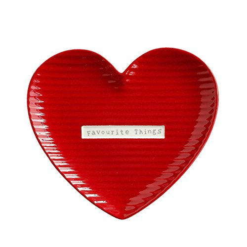 SOCOSY Romantic Heart-Shaped Ceramic Plate Dish/Dinner Plate/Dessert Plate/Appetizer Plate/Bread Platter/Steak Dish(Favourite Things) 8'' ()