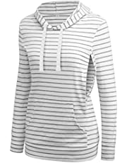 fitglam Women's Maternity Nursing Tops for Breastfeeding Side-Zip Hoodie with Pockets Long Sleeves Pregnancy Sweatshirt