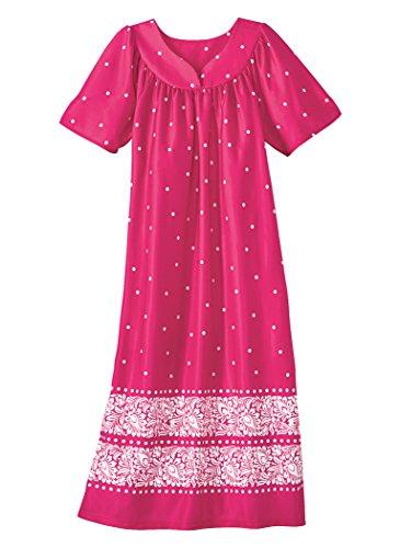 AmeriMark Women's Waltz Length Lounger LG (14-16)/Fuchsia Dot - Dress Lounge Womens