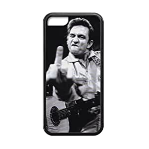 Generic Custom Phone case for Iphone 5C Johnny Cash Middle Finger The Bird Pattern