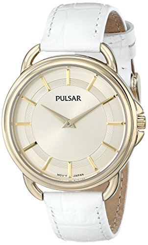 Pulsar Women's PM2136 Watch with White Leather Band (Band Watch Leather Pulsar)
