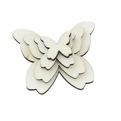 WINGONEER 100pcs Mixed Size Wooden Butterfly Cutouts Craft Embellishment Gift Tag Wood Ornament for -