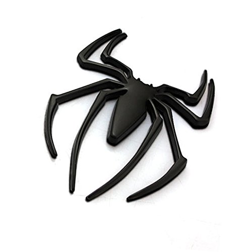 HaloVa Car Sticker, 3D Spider Metal Logo Emblems Badges Decal for Auto Vehicle Car Motorcycle Decor, Black