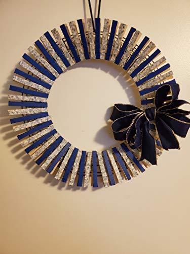 Colbolt Blue Clothespin Wreath