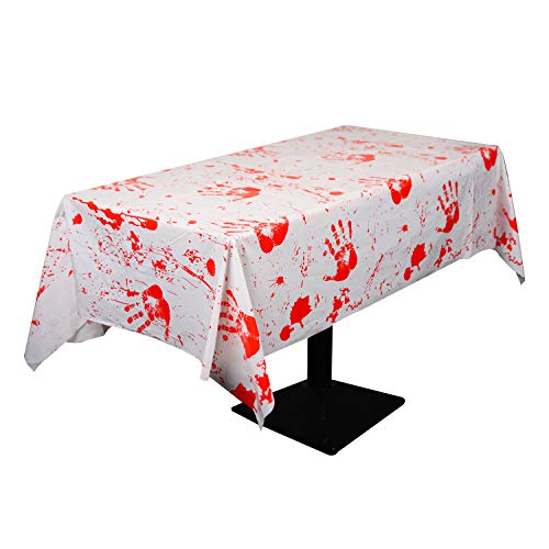 Kesoto Halloween Bloody Tablecloth Bloodstain Blood Drip Handprint Table Cover for Halloween Party Supplies Decoration Spooktacular Creations - Pack of 2]()