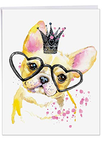 Funky Colorful Creature Dogs - Watercolor Birthday Card with Envelope (Large 8.5 x 11 Inch) - Colorful French Bulldog Pet, Animal Greeting Cards for Kids, Adults - Bday Appreciation Card - Bulldog Card Business