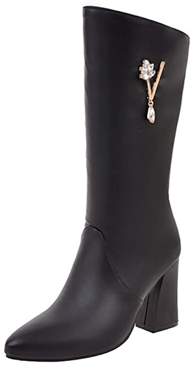 Women's Dressy Rhinestone Pointed Toe Chunky High Heel Mid Calf Boots with Side Zipper