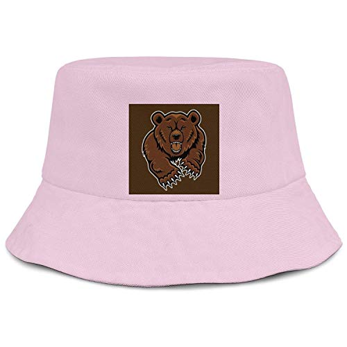 WOWorldgoods Unisex Travel Bucket Hat Grizzly Roaring Bears Wide Brim Outdoor Fishing Cap (Bucket Hat Grizzly)