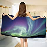 smallbeefly Aurora Borealis Bath Towel Exquisite Atmosphere Solar Starry Sky Calming Night Image Bathroom Towels Mint Green Dark Blue Violet Size: W 31.5'' x L 74''