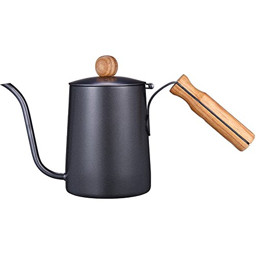 Kslong 600ml Gooseneck Tea Kettle Long Narrow Spout Coffee Maker With Wooden Handle