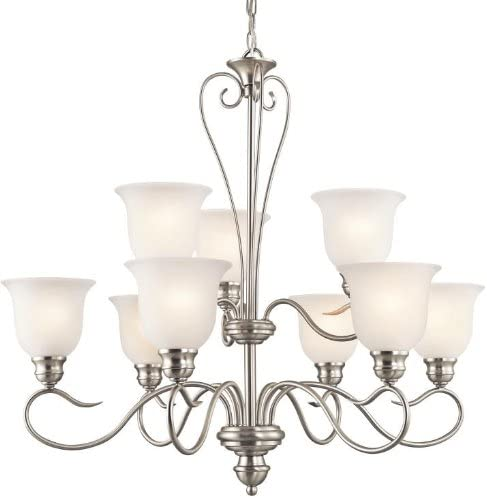 Kichler 42907NI, Tanglewood Glass Chandelier Lighting, 9 Light, 900 Watts, Brushed Nickel