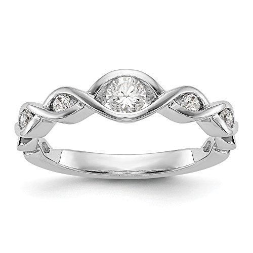KIOKORI 14K White Gold Ladies 5-Stone Diamond Channel Set Twist Band 3/8-Carat tw ~ Ring Size 7 ~ by Roy Rose ()