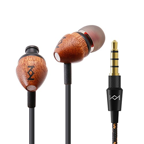 Genuine Premium Wood Earbuds in Ear headphones, Wired Bass Stereo Ear Pieces, Earphone with Mic & Remote Control for Adults/Kids/Boy/Girl/Small ear/Apple iPhone/Android/Laptop/Tablet/iPad (Sapele)