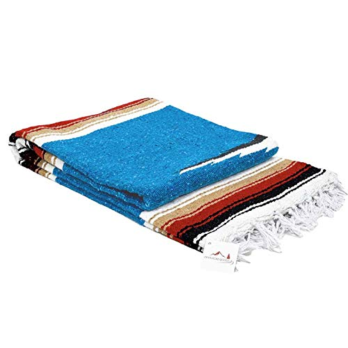 Traditional Road Trip American (Open Road Goods Blue Mexican Yoga Blanket - Thick Navajo Diamond Serape Indigo with Tan/Khaki and Red/Maroon Stripes)