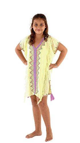 Kids Beach Cover (Shu-Shi Girls Swim Suit Cover Up Tunic top Caftan Rayon Mint Large)