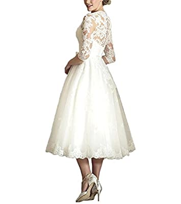 Cloverdresses Women's V Neck Half Sleeve Tea Length Wedding Dresses Short Bridal Gown