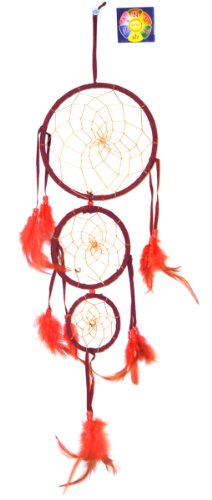 Native American Dreamcatcher, Free Copyrighted Tibetan Mantra Fridge Magnet (Burgundy)
