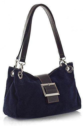 Donne Borsa in pelle camoscio piccola italiana con finiture finta - comprende una borsa di marca deposito protettivo e un fascino 28 x 18 x 11 cm (LxAxP) Blu (Dunkles marineblau - braun Trim)