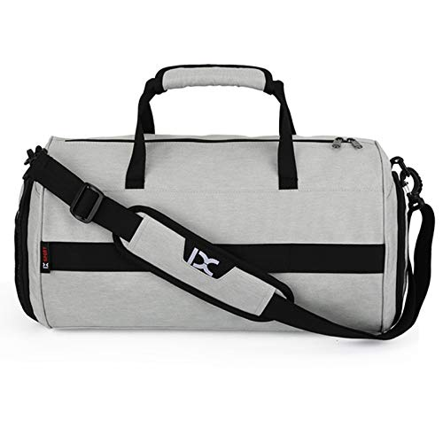 - MMF Travel Duffel Bag Waterproof Multi-Function Dry Wet Separation Yoga Fitness One-Shoulder Portable Travel Bag with Pull Rod Strap, Size: 45 x 26 x 26cm(Black) (Color : Light Grey)