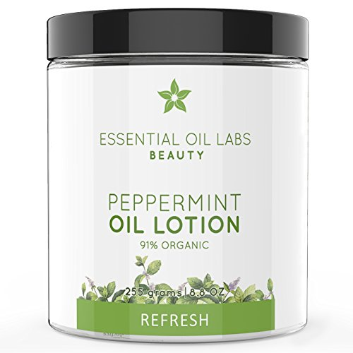Lotion Moisturizing Body Mint - Essential Oil Labs Beauty 'Refresh' Peppermint Oil Lotion 8.8 oz, 91% Organic Ingredients, Refreshing Lotion Infused with Peppermint Essential Oil, Moisturizing Relief