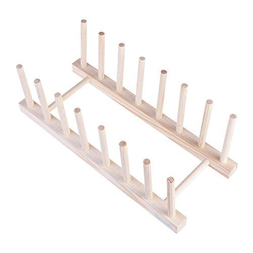Beautyflier Wooden Dish Plate Rack 7 Slots Drain Board Dryin