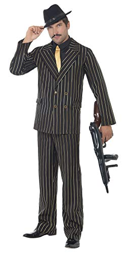 Smiffys Men's Gold Pinstripe Gangster Costume, Jacket, pants, Shirt Front and Tie, Black, with Jacket, pants, Shirt Front and Ties, 20's Razzle Dazzle, Serious Fun, Size L, 22414