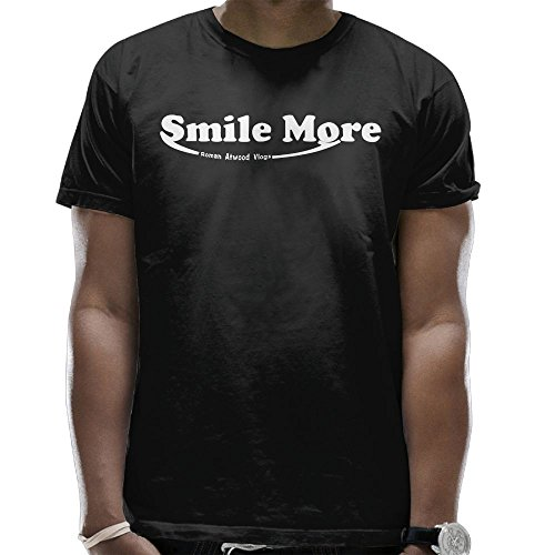 Addie E. Neff Roman Atwood Smile More Half Fashion T-shirt Tee Tops For Man Black XX-Large