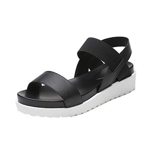 (Flatform Sandals, Jamiacy Ankle Strap Open Toe Summer Cork Flatform Sandal Black)