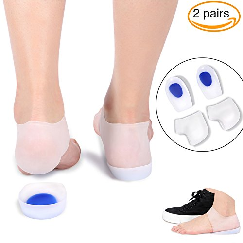 Gel Heel Cups Inserts and Compression Heel Sleeves Socks(4 Pieces), Foot Ankle Pain Relief for Plantar Fasciitis Spurs Pads Cracked Heels Achilles Tendonitis, Heel Protection Cushion Shock Absorption