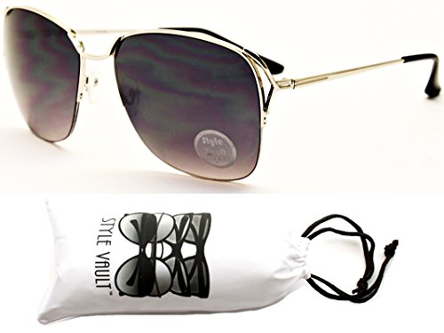 WM506-vp Metal Semi-Rimless Cateye Oversized Sunglasses (E1250G Silver/Black-Smoked, - Mens 1960s Sunglasses