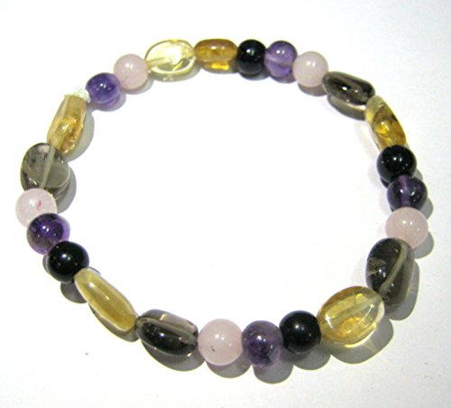 CRYSTALMIRACLE EXCLUSIVE ROSE QUARTZ AMETHYST BLACK OBSIDIAN CITRINE SMOKEY QUARTZ BEADED CRYSTAL HEALING BRACELET FASHION WICCA JEWELRY GIFT GEMSTONE HEALTH WEALTH LOVE PEACE ENERGY POWER ()