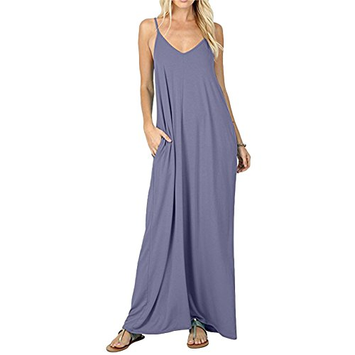 Les Femmes Sans Manches Chicfor Sangle Spaghetti Robe Simple Lâche Flowy Gris Robe Maxi Poches Swing De Plage