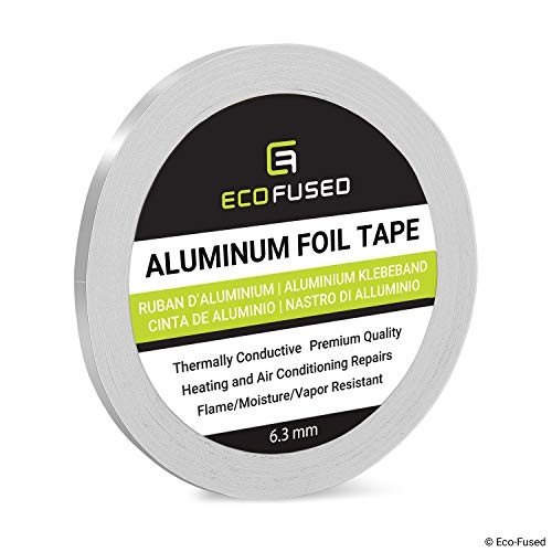 Premium Adhesive Aluminum Foil Tape - for Heating and Air Conditioning Repairs - Thermally Conductive - Flame/Moisture/Vapor Resistant - Heat and Light Reflective - Arts and Crafts, Home Interior (Tape Foil Silver)