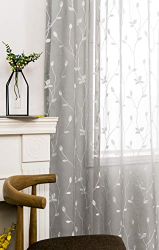 - AmHoo Floral Leaf Embroidery Semi Sheer Curtain Rod Pocket Voile Sheer Curtains Set of 2 for Living Bedroom Window Treatment (Light Grey, 53 x 84)