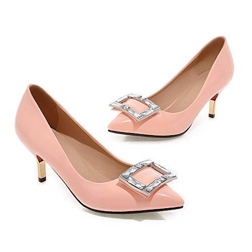 Minivog Womens Square Buckle Pointed Teen Patent High Pump Shoes Pink