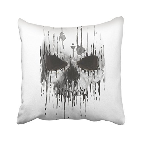Emvency Tattoo Skull Scary Human Face Horror Artwork Death Devil Halloween Drawing Skeleton Evil Watercolor Throw Pillow Cover Covers 20x20 inch Decorative Pillowcase Cases Case Two Side]()