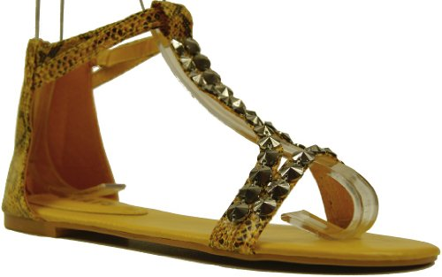 Damen Römer Sandalette Sommer Sandale mit Nieten Applikation Gelb