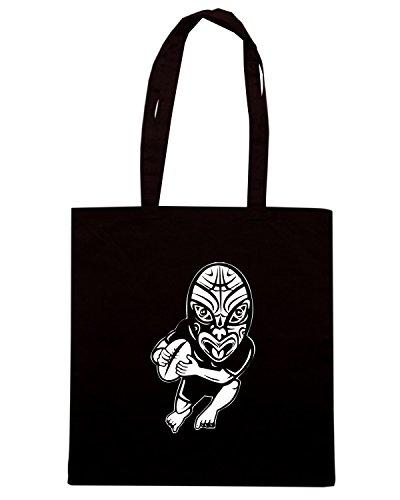 T-Shirtshock - Bolsa para la compra TRUG0117 maori rugby player logo Negro