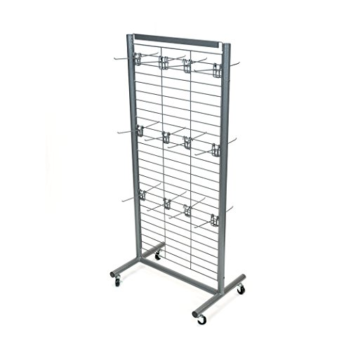 Rich UMF-24G-24HK6G Metal Floor Grid Display with Heavy-Duty Wire Grid, 24 Removable 6'' Hooks, Casters, Sign Holder, and Durable Powder Coated Finish by RICH