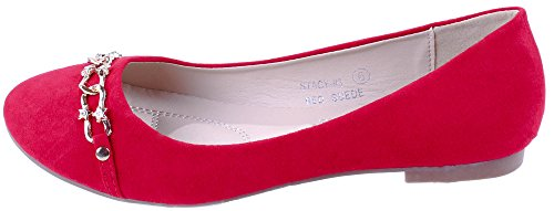 Bella Marie Scarpe Da Donna Stacy-93 Slip On Flats Con Catena Decorativa Rosso