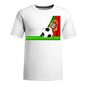 Custom Mens Cotton Short Sleeve Round Neck T-shirt,2014 Brazil FIFA World Cup Soccer Portugal white