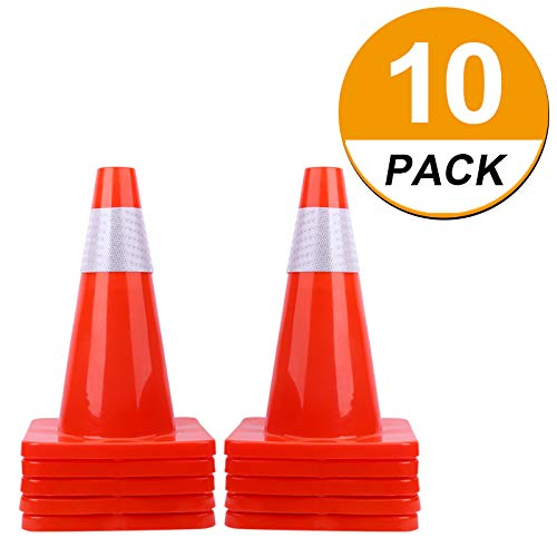 [ 10 Pack ] 18'' Traffic Cones PVC Safety Road Parking Cones Weighted Hazard Cones Construction Cones for Traffic Fluorescent Orange w/4'' Reflective Strips Collar Traffic Safety Cones by BLQH