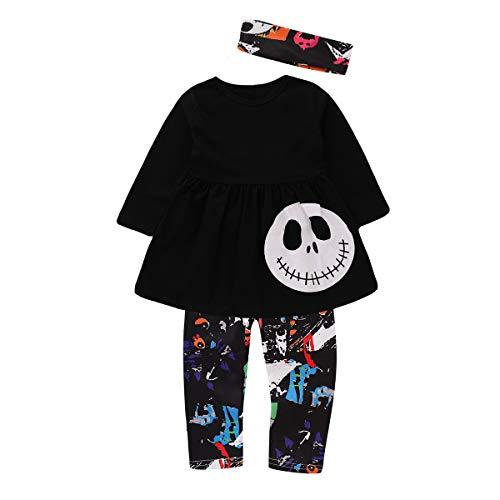 Toddler Kids Girls Halloween Outfits Skull Pumpkin Shirt Tops Pant Headband -