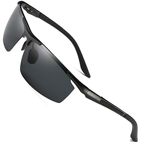 Men's Polarized Sports Sunglasses For Fishing Driving Golf Fashion Metal UV400 Glasses Black