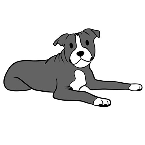 Bronx The Happy Blue Pitbull, Staffordshire Bull Terrier - Vinyl Decal for Indoor or Outdoor use, Cars, Laptops, Décor, Windows, and ()