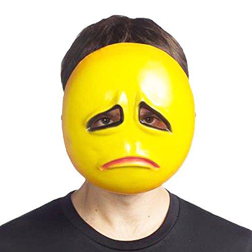 HMS Unisex-Adult's Emoji SAD MASK, Yellow, one Size