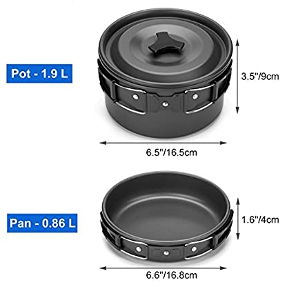 Odoland Camping Cooker Pan Set Aluminum Camping Cookware Kit for 2 People, Portable Outdoor Pot Pan Stove Kettle 2 Cups… 2